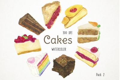 Watercolor Cakes Clipart, Cakes Clip Art