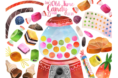 Watercolor Retro Candy Clipart