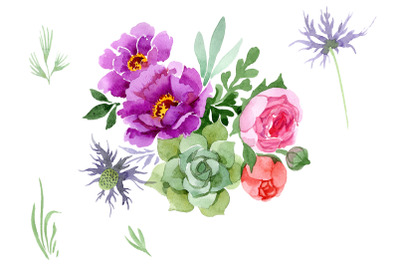 Peonies paradise purple watercolor png