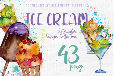 Ice- cream Sundae watercolor png