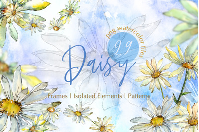 Watercolor Daisy PNG set