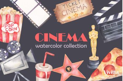 Cinema Movie Pizza watercolor clipart collection