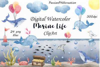 Digital Watercolor Marine life clipart