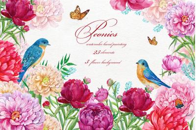 Peonies Flowers Watercolor.Wedding Clipart.Hand Painted.