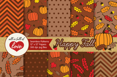 Happy Fall Digital Scrapbooking Brown Patterns Autumn Backgrounds Seamless Digital Paper Pack