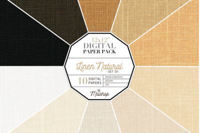 Digital Paper Pack   I   Linen Natural Set 01