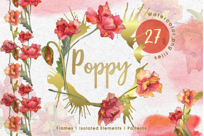 Red watercolor poppies PNG set