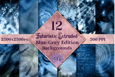 Futuristic Extruded Backgrounds Blue-Grey Edition - 12 Image Set