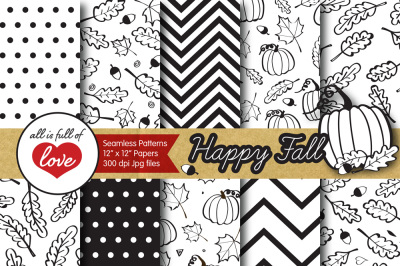 Black and White Happy Fall Foliage Digital Paper Autumn Pumpkins Patterns