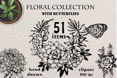 Hand drawn floral collection and more