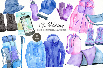 Watercolor go hiking clipart