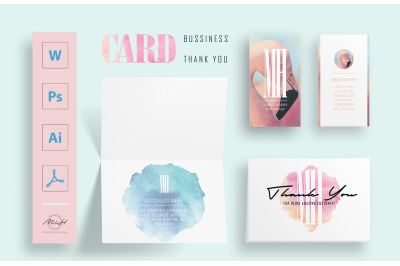 Flamingo Bussiness Card and Thank you Card Template