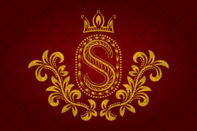 Patterned golden letter S monogram