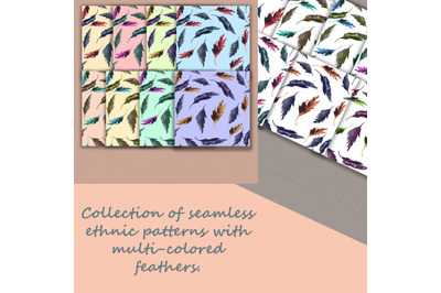 Collection of seamless watercolor ethnic backgrounds with bird feather