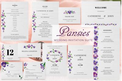 Pansies Wedding Invitation Suite
