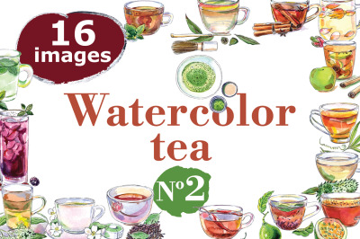 Watercolor tea-2 vector set