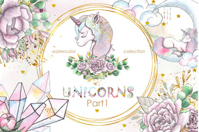 Unicorns. Watercolor collection