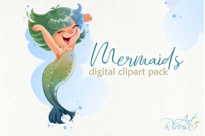 Funny mermaids clipart pack