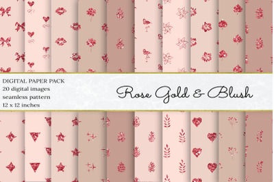 Rose Gold Glitter Digital Papers