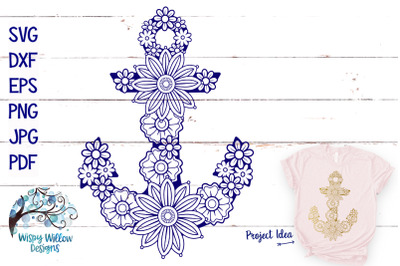 Floral Anchor SVG | Summer Nautical Cut File