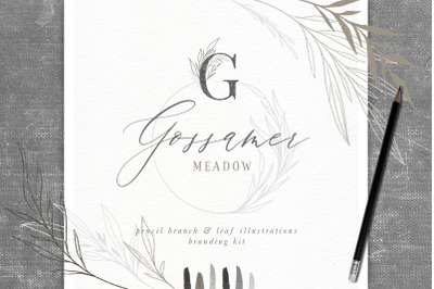 Pencil Branch and Leaf Illustrations Branding Kit