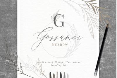 Pencil Branch and Leaf Illustrations Branding Kit