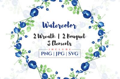 Beautiful watercolor floral wreath
