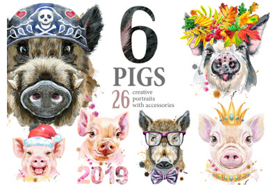 Cute watercolor pigs