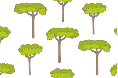 Seamless pattern with trees