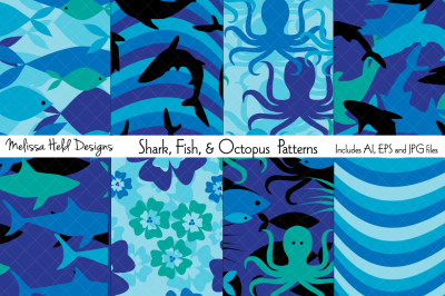 Shark, Fish & Octopus Patterns