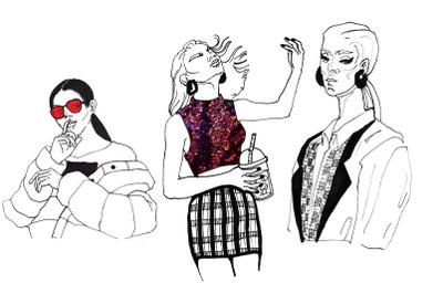 6 fashion trendy girls illustrations