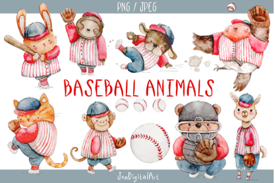 Watercolor Baseball Animals | 9 PNG / JPEG Illustrations
