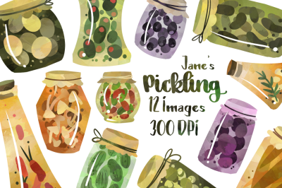 Watercolor Pickles Clipart