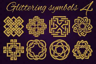 Golden glittering symbols pack 4
