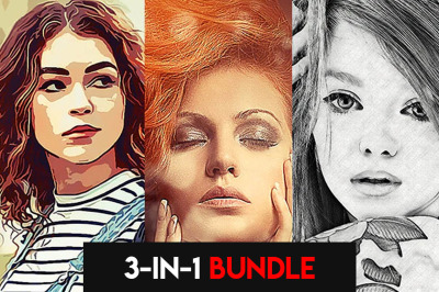 Action Art 3in1 Photoshop Actions Bundle