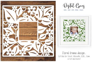 Floral frame paper cut design