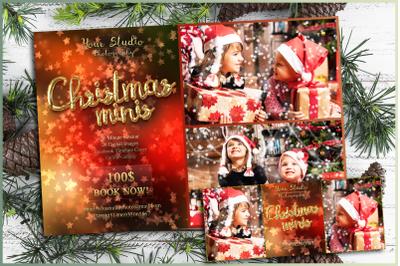 Christmas minis, mini session photoshop template, winter, facebook, ti