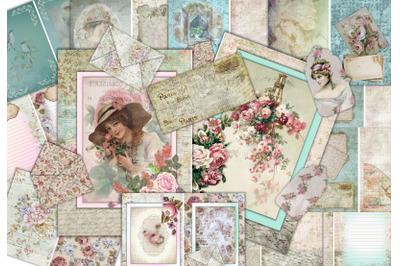 Vintage Victorian Journaling Kit 24 pages with Ephemera