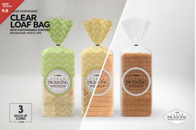 Clear Loaf Bread Bag Packaging Mockup