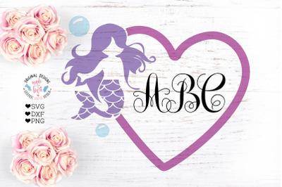 Mermaid Heart Monogram Frame