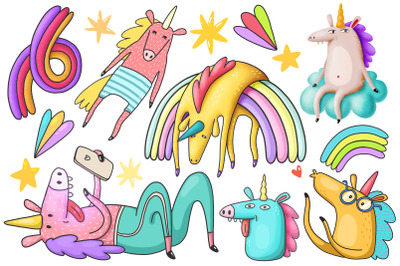 Unicorns clipart collection