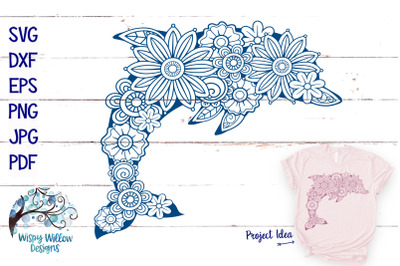 Floral Dolphin SVG | Summer Cut File