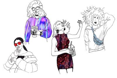 4 trendy fashion girls illustrations