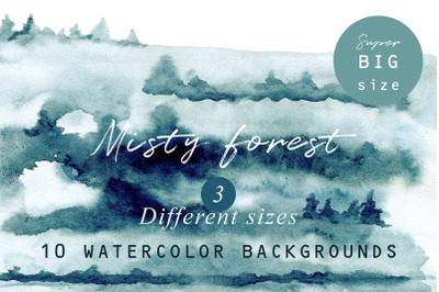 Misty forest watercolor textures set