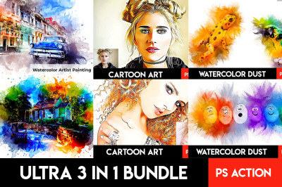 Ultra 3 in 1  Photoshop Action Bundle