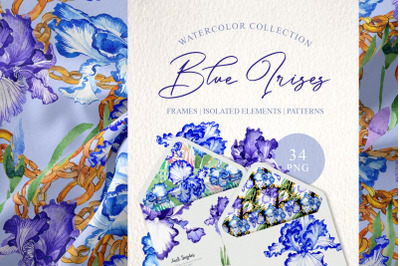 "Blue irises ""Inspiration"" watercolor png"