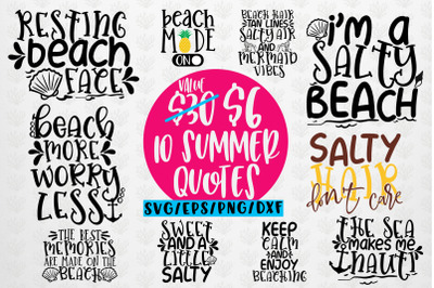 Summer & Beach Svg Bundles - 10 Svg EPS DXF PNG Cut File