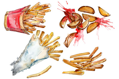 French fries with sauce on Ukrainian watercolor png