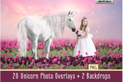 Unicorn PNG Overlays Pack and Backdrops