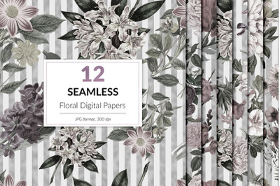 Floral & Silver Seamless Patterns